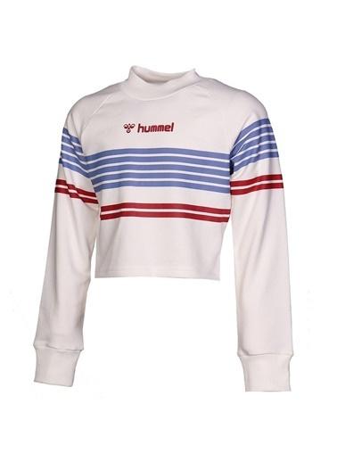 Hummel Hummel 9210299973 Dik Yaka Çizgili Uzun Kollu Çocuk Sweatshirt Beyaz